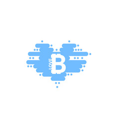 bitcoin in cloud in the shape of a heart with vector image