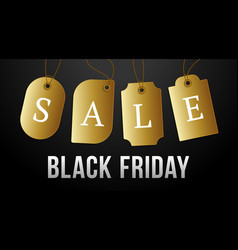 black friday sale on gold price tag set of vector image