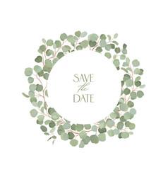 boho eucalyptus floral wedding frame vector image