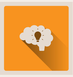 Brain thinking of an idea on yellow background vector