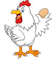 cartoon hen holding a egg vector image