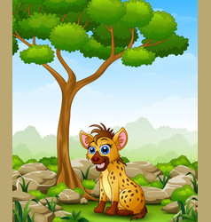 Cartoon hyena sitting in the jungle vector