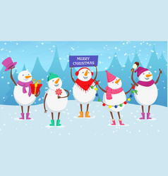 christmas background cute cartoon snowman new vector image