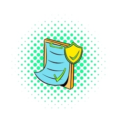 Clipboard with insurance form icon comics style vector image