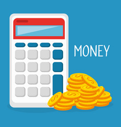 Coins money with calculator vector
