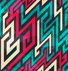 Colorful maze seamless pattern with grunge effect vector