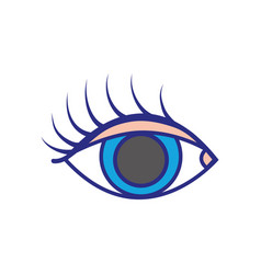 Colorful vision eye with eyelashes style design vector