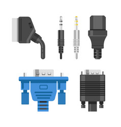 Connection cable and connectors audio or video vector