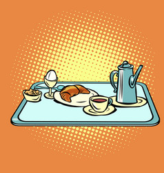 Continental breakfast on a tray vector