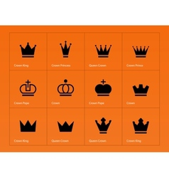 Crown icons on orange background vector image