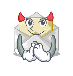 Devil open envelope on cartoon shape blank vector