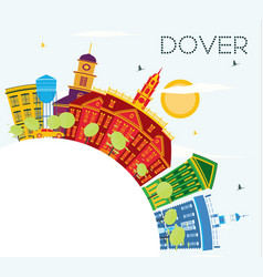 dover delaware city skyline with color buildings vector image