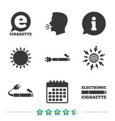 E-cigarette signs electronic smoking icons vector