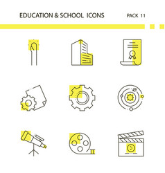 education and school outline and yellow background vector image