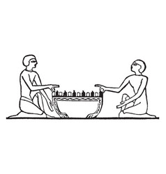 Egyptian chess game vintage vector