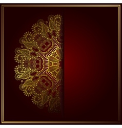 Elegant gold line art ornamental lace circle vector