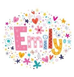 Emily female name decorative lettering type design vector