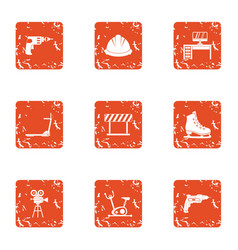 Equip the simulator icons set grunge style vector
