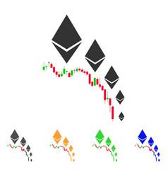 Ethereum deflation chart icon vector