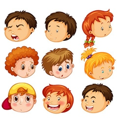 Faces of girl and boys with emotions vector image