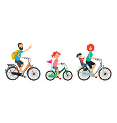 Family on bicycles walk male and female riding on vector