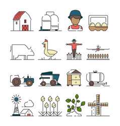 farm symbols agricultural objects wheat field vector image