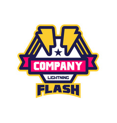 flash lightning company logo template design vector image