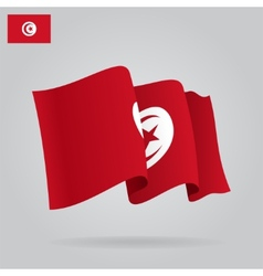 Flat and waving Tunisia Flag vector