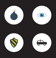 Flat icons armored car explosive vision and vector