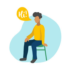 flat of sitting boy with vector image