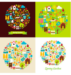 flat spring garden objects concepts vector image