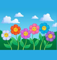 flower theme image 6 vector image
