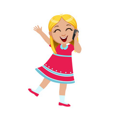 girl laughing talking on the smartphone part of vector image