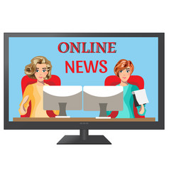 girls leading news on tv vector image