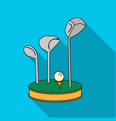 Golf ball and clubs on grass icon in flat style vector