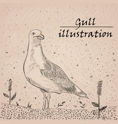 Gull ink on white background vector