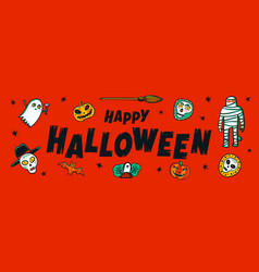 halloween horizontal banner with happy halloween vector image
