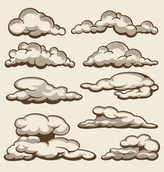 Hand drawn clouds in vintage style set vector