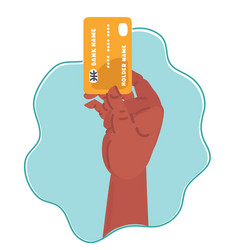Hand holds credit card icon vector