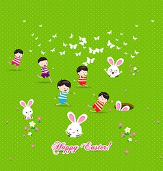 Happy easter Kids bunny eggs grass vector