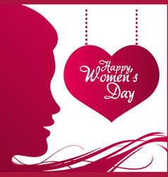 happy womens day profile girl heart hanging poster vector image