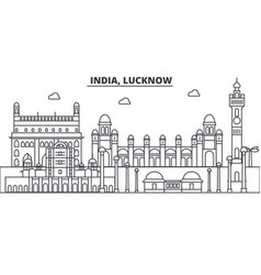India lucknow architecture line skyline vector