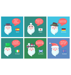 International santa clauses greet with new year vector