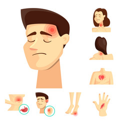 Isolated object pain and disease symbol set of vector