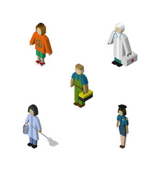 Isometric human set of policewoman housemaid vector