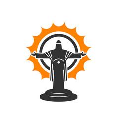 jesus cross statue logo vector image