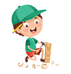 Kid working vector