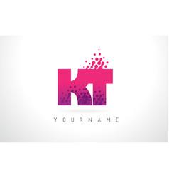 Kt k t letter logo with pink purple color vector