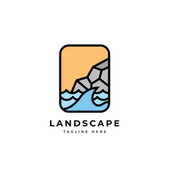 landscape logo symbol templatecoast with w vector image