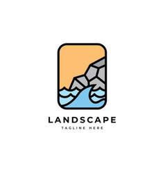 landscape logo symbol templatecoast with w vector image